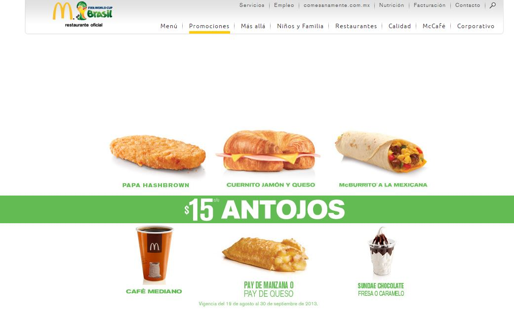 McDonald's Website for Mexico